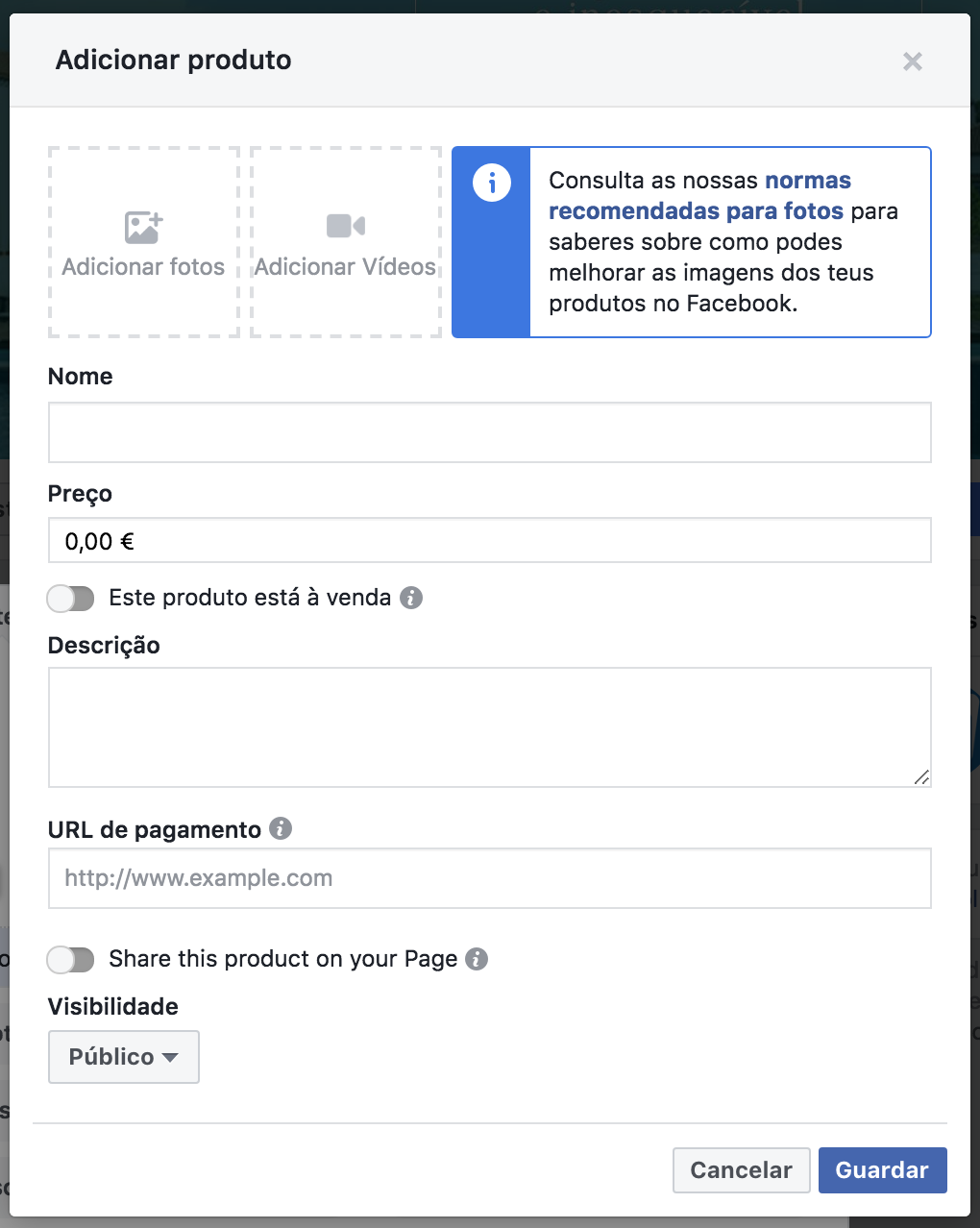Identificar produtos no Facebook