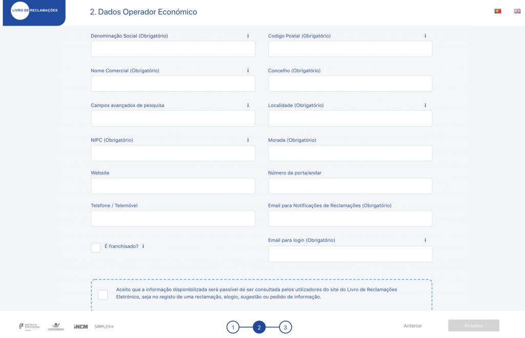 Livro de Reclamações Eletrónico- Dados do Operador Económico