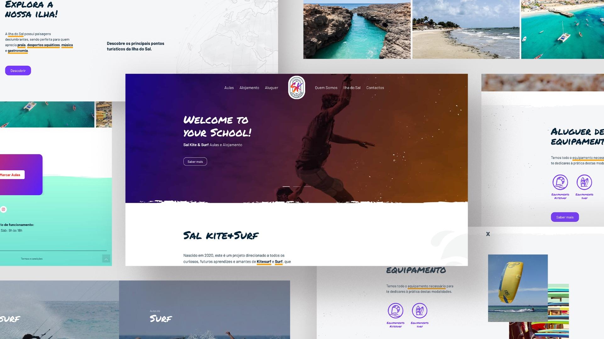 Ecrãs website Sal Kite & Surf
